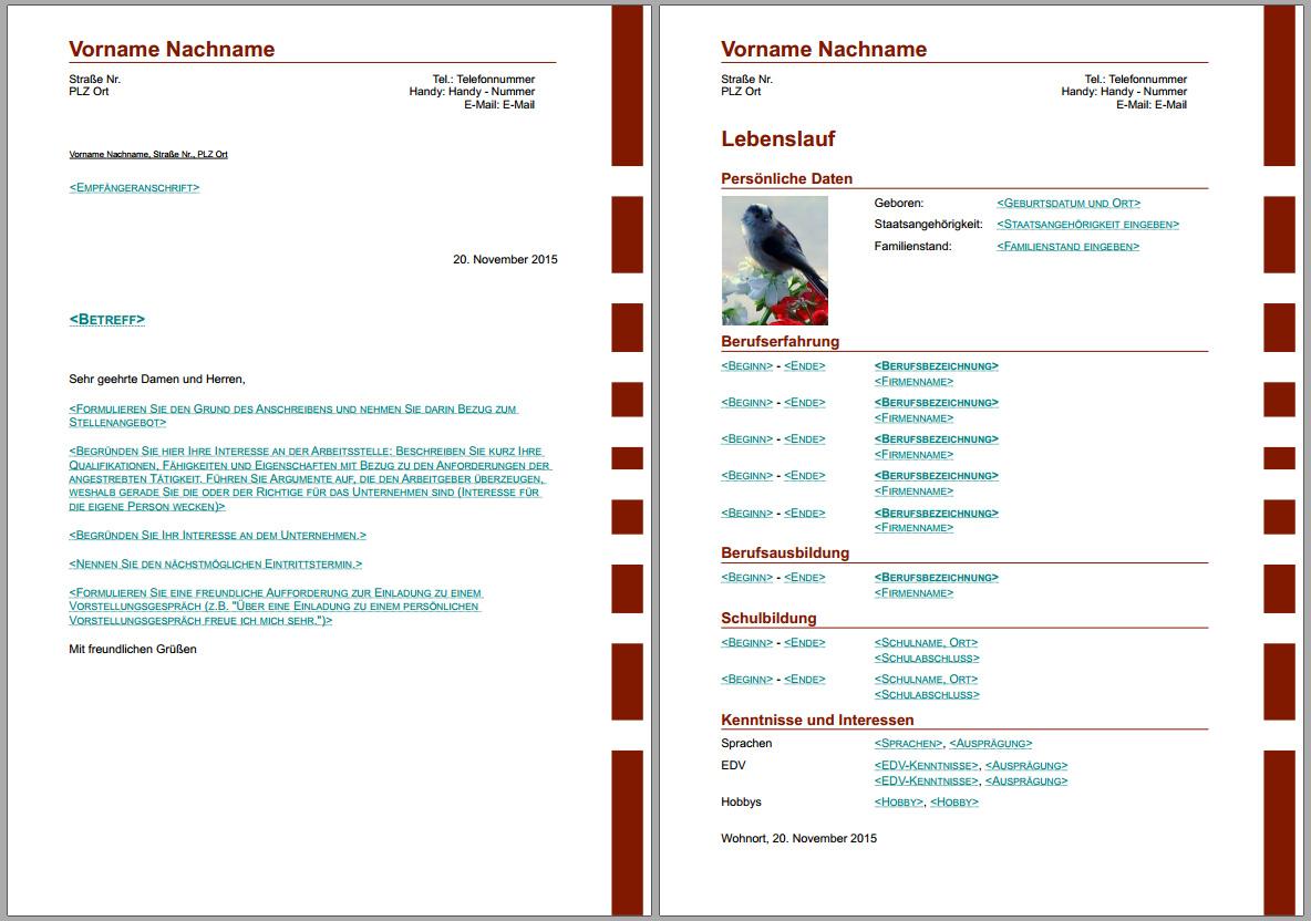 Bewerbungsvorlagen Fur Libreoffice